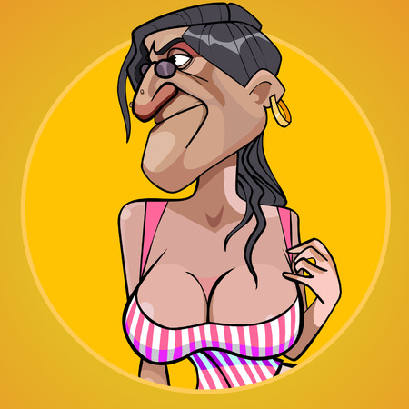 Cartoon scary woman with lush shapes of the chest seducing 일러스트