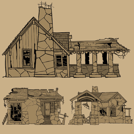 Painted monochrome sketches of stone houses Ilustrace