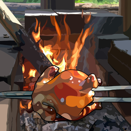 painted fried chicken on a skewer prepare over fire