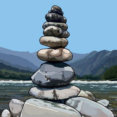 石の描かれたピラミッド