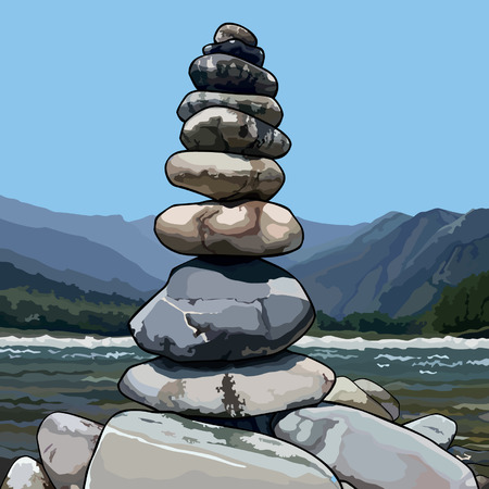 drawn pyramid of stones