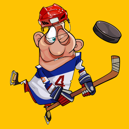sports equipment: funny cartoon hockey player with stick and puck Illustration