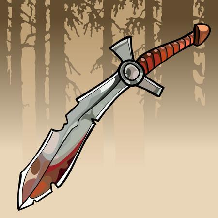 A cartoon jagged curve bloody sword in a forest Иллюстрация