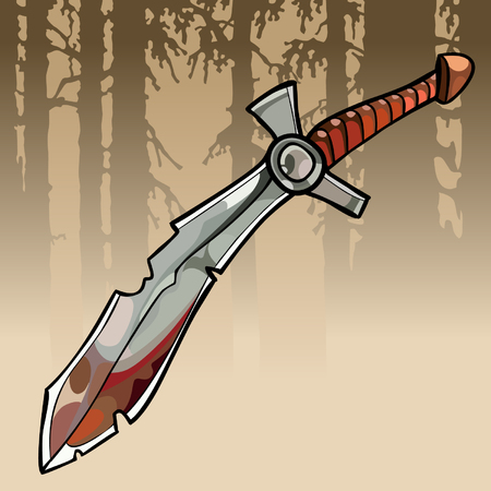 A cartoon jagged curve bloody sword in a forest Illustration