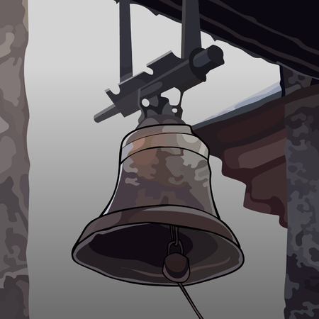 A painted the bell attached to the roof of the building