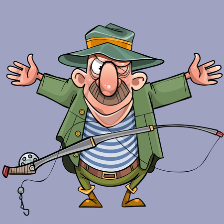 cartoon male fisherman with a fishing rod shows off a catch Illustration