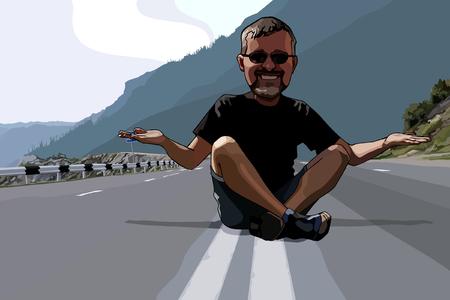 cartoon funny man sitting on the roadway Иллюстрация