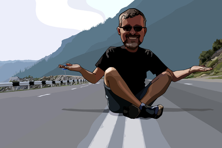 grappige man van de cartoon zittend op de rijbaan