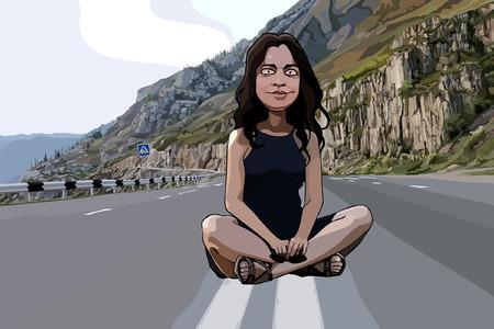 山の中の道路に座って漫画面白い女性