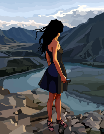 cartoon woman looks at the river valley in the mountains