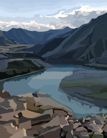 painted background view of a mountain valley with a river
