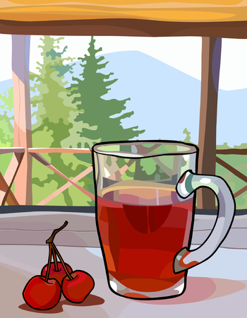 Glass cup with tea and berries on a window sill