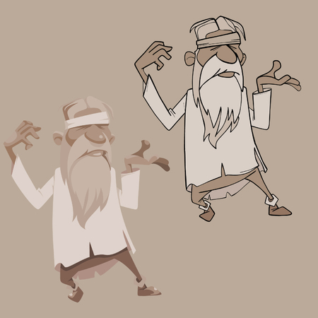Cartoon bearded grandfather with a bandage standing in a pose Illustration