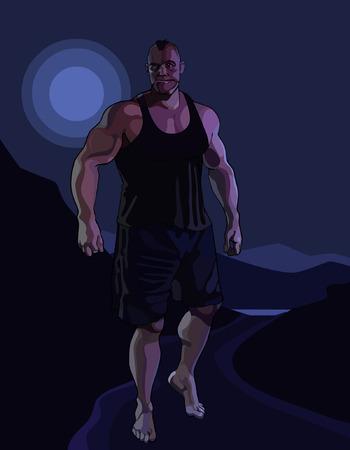 Cartoon great horror muscular man walking in a moonlit night Vetores