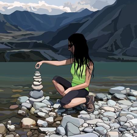 Cartoon woman creates a pyramid of stones on the river bank