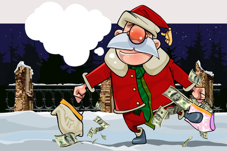 park: cartoon santa claus with a replica and with bags full of money on a winter night