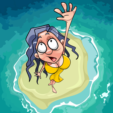 water s: cartoon scared woman falls on the islet in the sea