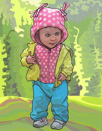 ジャケット、ズボンは自然の中で女の赤ちゃん
