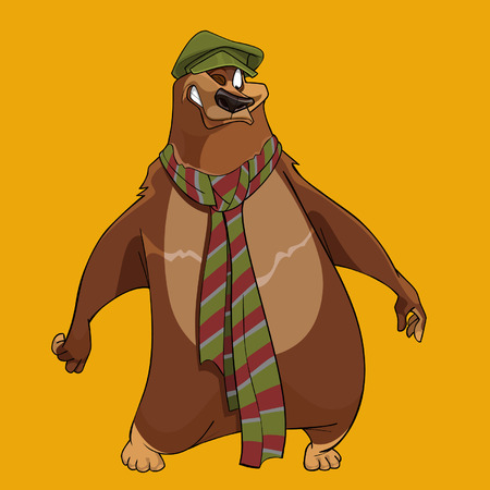 Bear with the cap and scarf Illustration