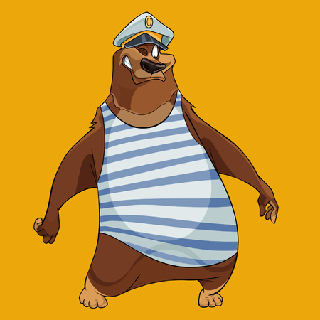 Bear with the hat of a sea captain and the vest Illustration