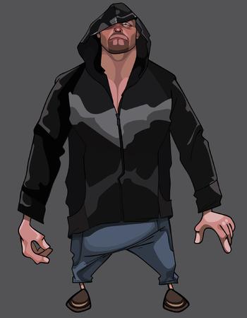 Caricature cartoon sad man in the hood