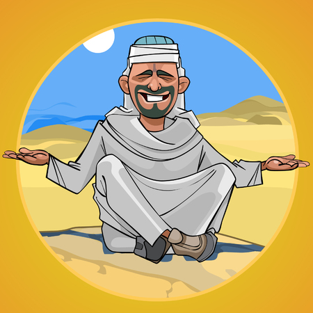 cartoon man in Arab clothes sitting in the desert