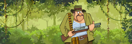 A cartoon man hunter with a gun walking through the forest