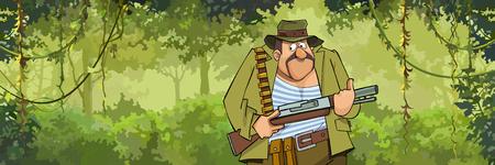 A cartoon man hunter with a gun walking through the forest