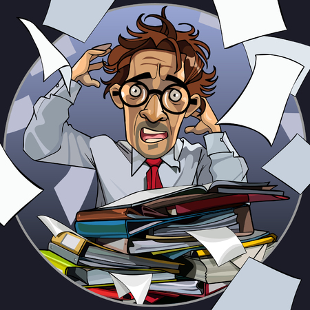 A cartoon man is hysterical with folders of papers