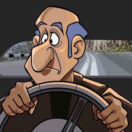 A cartoon surprised man driving in the car while driving Illustration