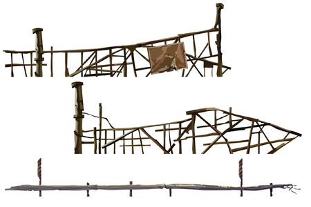 A painted old dilapidated fences made of sticks Illustration