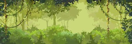 배경 만화 녹색 잎이 많은 숲과 lianas 일러스트