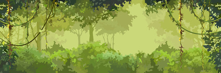 A background cartoon green leafy forest with lianas