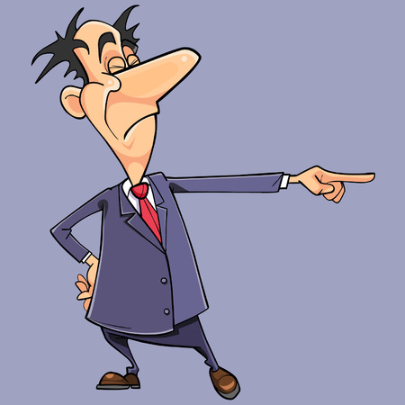 Cartoon arrogant man in a suit with a tie points with his finger Illustration