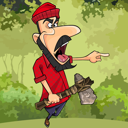 cartoon lumberjack with ax threatening finger pointing in the forest