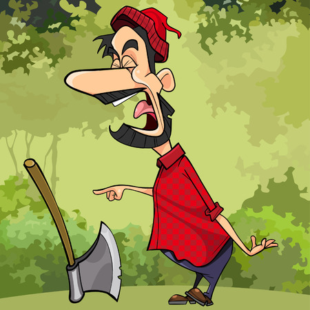 cartoon screaming a woodcutter in the forest pointing his finger Illustration