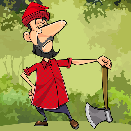 cartoon lumberjack in forest with an ax