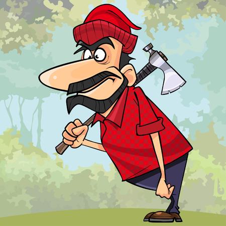 cartoon surprised man lumberjack standing with an ax in the woods