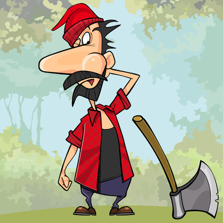 cartoon surprised the woodcutter next to the ax in the woods