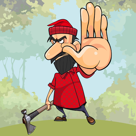 cartoon angry woodsman with an ax in the woods