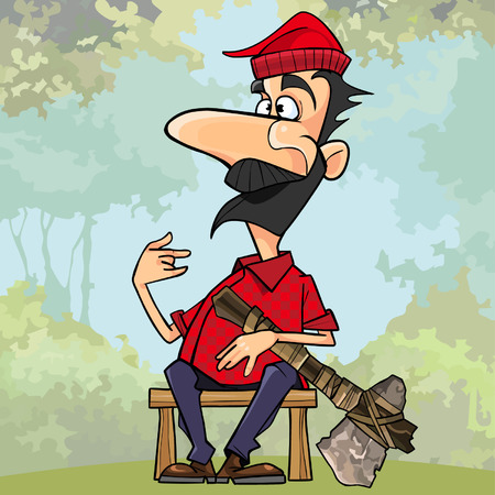 cartoon lumberjack with a stone axe sitting on a bench in the woods