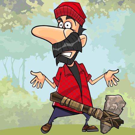 cartoon shocked lumberjack with a stone axe in the forest
