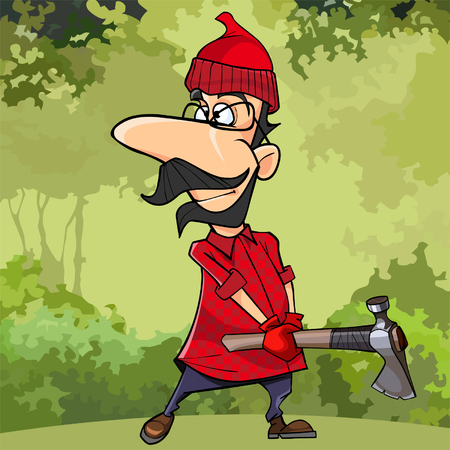cartoon lumberjack with glasses standing with ax in hands Illustration