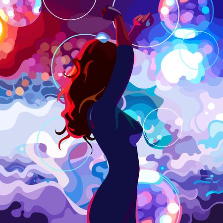 Geschilderd silhouet van een dansende vrouw op de kleurrijke dansvloer