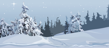 Illustration of winter forest with snow covered trees.
