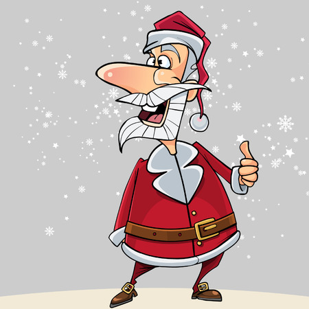 Funny Santa Claus shows an approving thumb up gesture Illustration