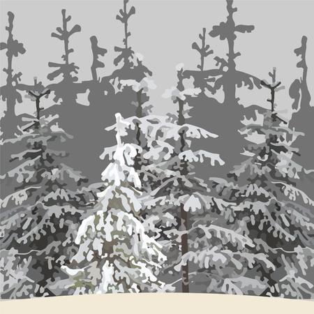 雪に覆われた木と冬の森の背景が灰色。
