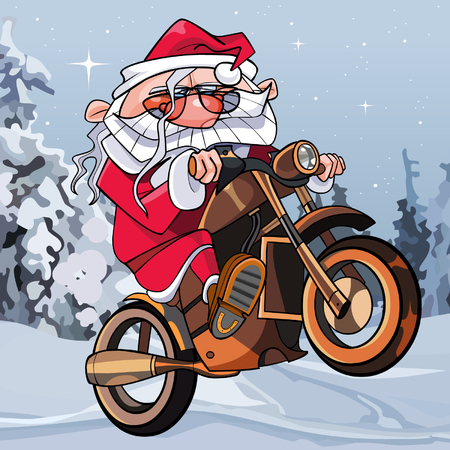 Cartoon funny Santa Claus on a motorcycle in the woods.