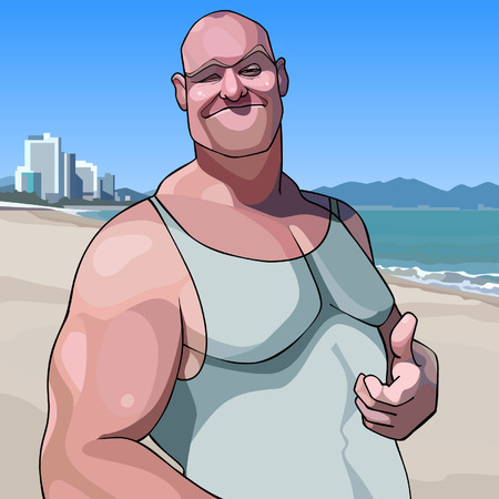 cartoon happy male big guy shows an approving gesture thumb up