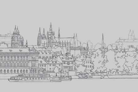 강에 의해 오래된 유럽 도시의 스케치